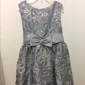 Gray & Silver Girl's Holiday Dress